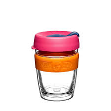 Keep Cup Reusable Coffee Glass Pink and Orange